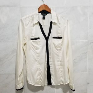 WHBM Silk Stretch Button Up Blouse